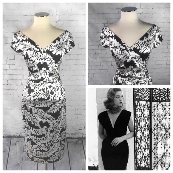 7f97f6d4 Maggy London Dresses & Skirts - Maggy London Black/White Damask Print Satin  Dress